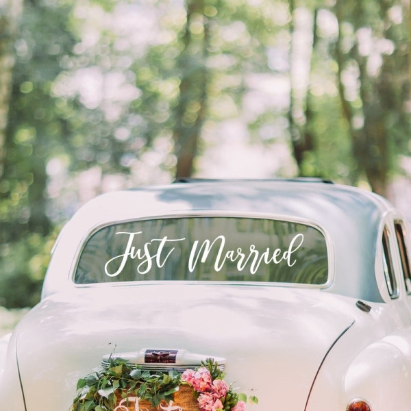 Autoschmuck Just Married Sticker