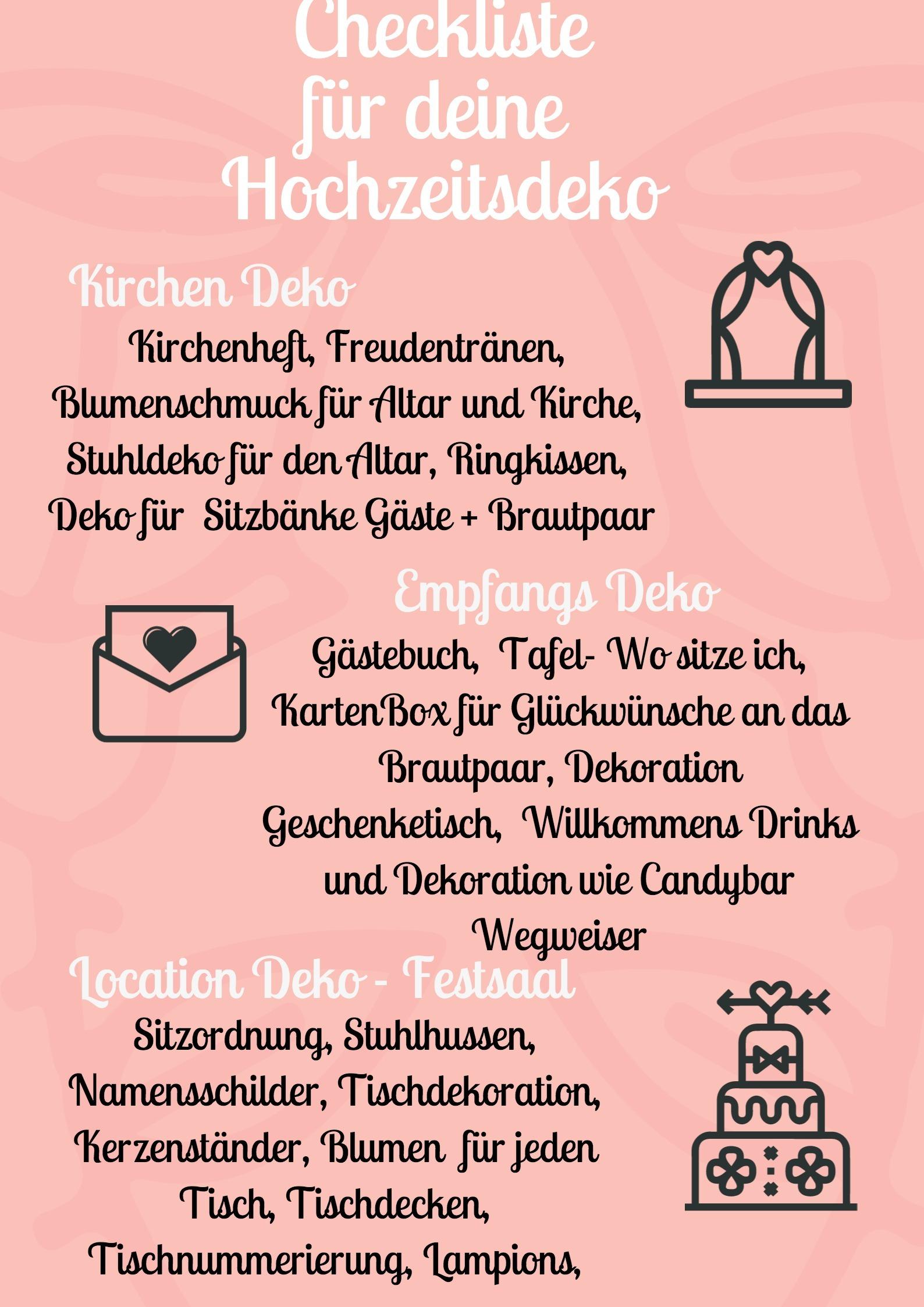 Checkliste-Hochzeitsdeko