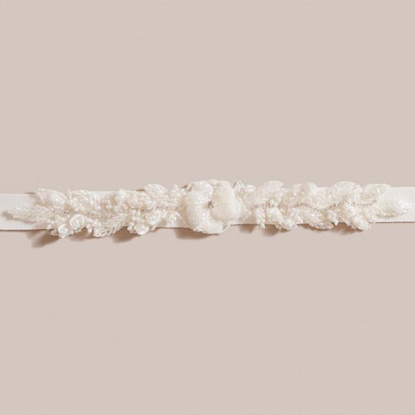 Brautgürtel mit Perlen-Blume