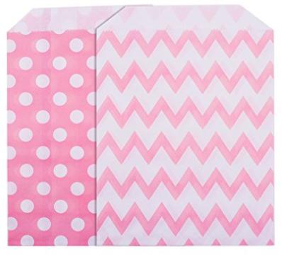 25 Candy Bar Tüten pink gezackt