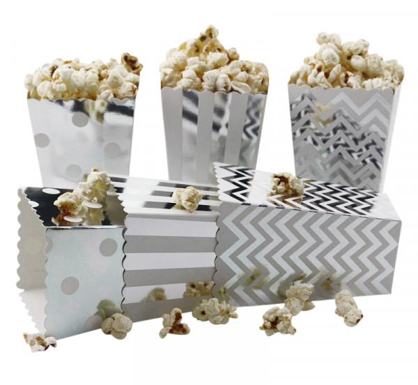 Popcorn Tüten | Popcorn Behälter | 20er Box | Popcorn Tüte | Silber