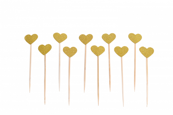Cake Topper Hearts Gold