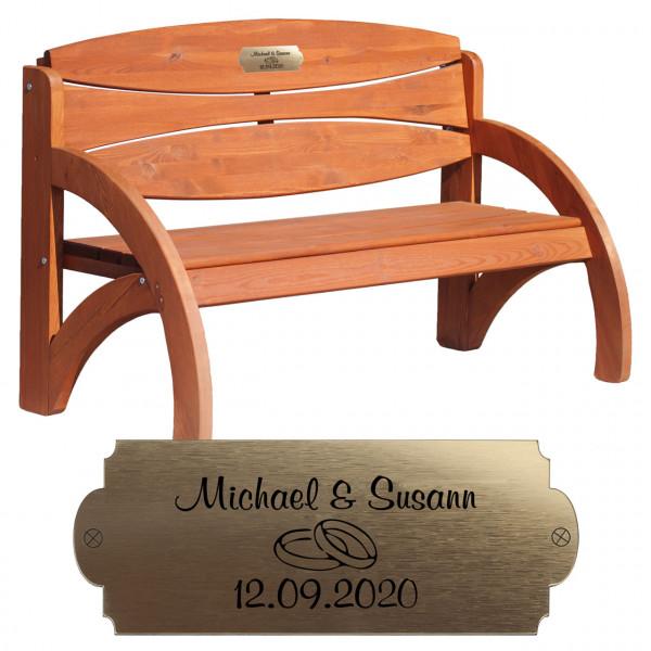 Holzbank Braun mit Gravur |Hochzeitsgeschenk