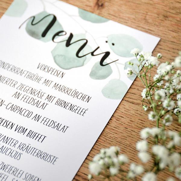 "Menü & Wein Karte ""Eukalyptus"""