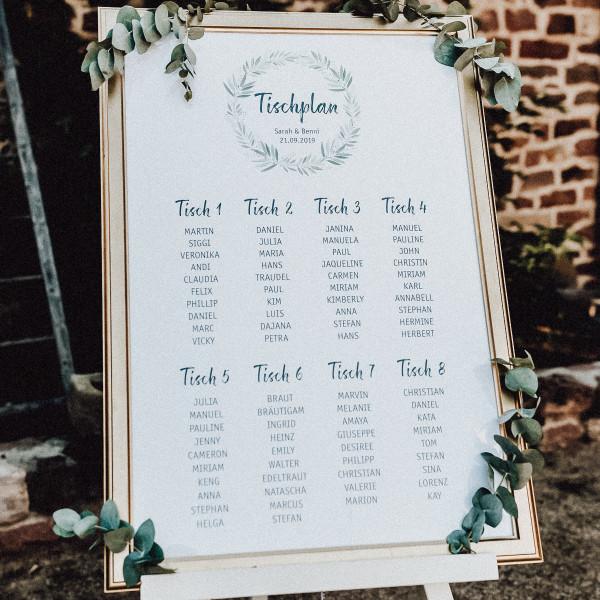 Tischplan Hochzeit | blühende Liebe