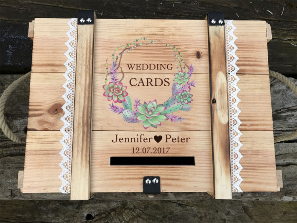 Kartenbox aus Holz für Hochzeit