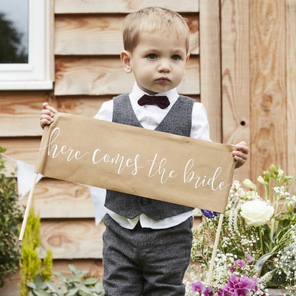 """Schild """"Hier kommt die Braut"""""""