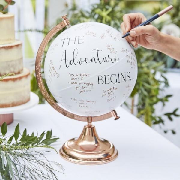 Gästebuch Globus + Namen