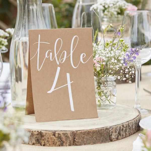 Transparente Tischnummern Hochzeit